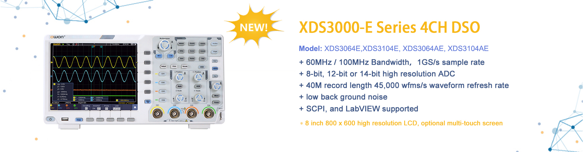 OWON XDS3000-E Series 4CH 12/14bit Touchscreen Digital Oscilloscope