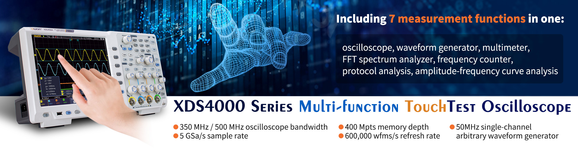 OWON XDS4000 Series 350MHz-500MHz Digital Oscilloscope